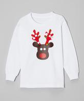 Beary Basics White Reindeer Face Tee - Toddler & Boys