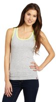 Southpole Juniors Solid Racerback Tank Top with Contrast Color Lace Trim
