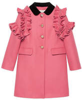 Gucci Ruffle-Trim Wool Coat, Size 4-12