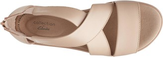 Clarks Jillian Rise Low Leather Wedge Sandal - Blush
