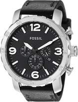 Fossil Men's JR1436 Nate Stainless Steel Watch with Leather Band