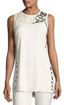 Nic+Zoe Embellished Linen-Blend Top, Plus Size