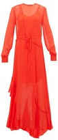 Preen Line Brea Lace-trimmed Georgette Maxi Dress - Womens - Red