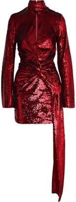 16Arlington Catherine Draped Sequined Mesh Mini Dress