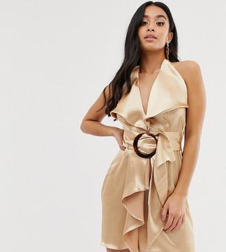 Asos DESIGN Petite neck satin pencil mini dress with wooden buckle belt-Gold