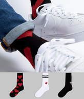 Asos Valentines Socks With Heart Design 3 Pack
