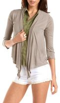 Charlotte Russe Floral Lace Back Draped Cardigan
