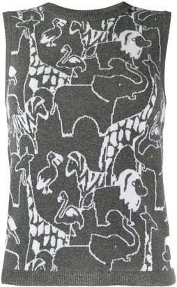 Thom Browne Animal Print Mix Tank Top