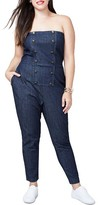 Rachel Roy Plus Size Women's Strapless Denim Jumpsuit