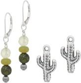 American West Sterling Silver Gemstone Bead & Charm Earring Set