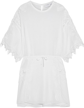 IRO Sevene Macrame Lace-trimmed Crepe De Chine Mini Dress