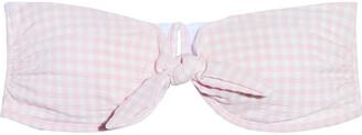 Onia Madeline Strapless Knotted Gingham Seersucker Bikini Top