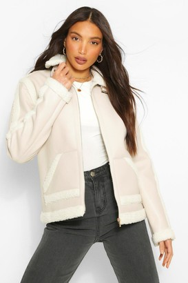 boohoo Tall Faux Leather Aviator Jacket