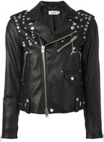 Coach multi-studded biker jacket - women - Lamb Skin/Polyester/Viscose - 2