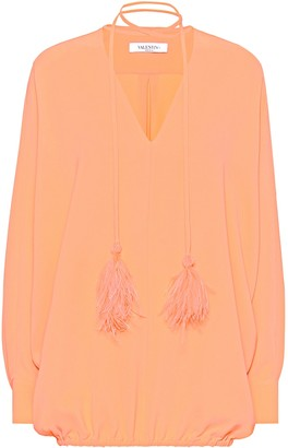 Valentino Feather-trimmed silk-crApe blouse