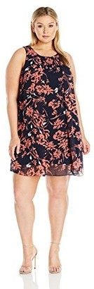 MSK Women's Plus Size Woven Floral Trapeze Dress