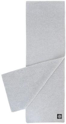 Stone Island Wool Knit Ribbed Scarf Grigio Perla Grey