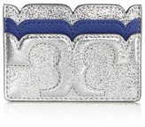 Tory Burch Scallop-T Metallic Leather Card Case