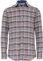 Hackett Slim Fit Linen Sahara Delave Plaid Shirt
