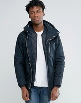 Pull&Bear Parka Jacket In Navy