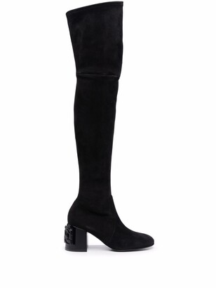 Casadei C-Chain thigh-high suede boots