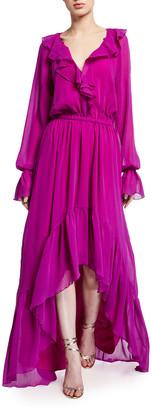 Ramy Brook Tina Ruffled High-Low Long-Sleeve Dress