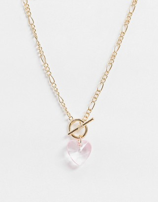ASOS DESIGN t bar necklace with crystal heart pendant in gold tone