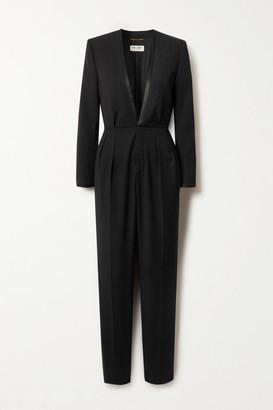 Saint Laurent Satin-trimmed Wool-crepe Jumpsuit - Black