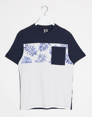 ASOS DESIGN color block t-shirt with floral print and pocket