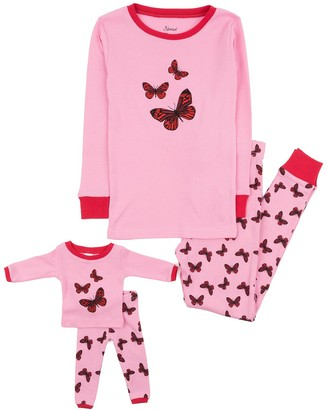 Leveret Butterfly Pajama & Matching Doll Pajama Set (Toddler, Little Girls, & Big Girls)