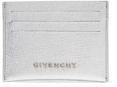 Givenchy Pandora Metallic Textured-leather Cardholder - Silver