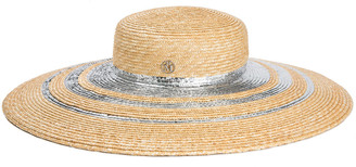 Maison Michel Bianca Metallic Trim Sun Hat