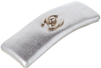 Chanel Silver Leather Hair Clip