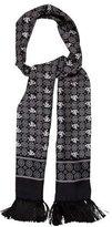 Dolce & Gabbana Silk Geometric Print Skinny Scarf