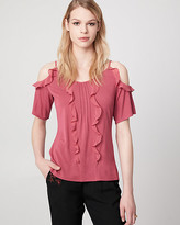 Le Château Jersey & Chiffon Cold Shoulder Ruffle Top