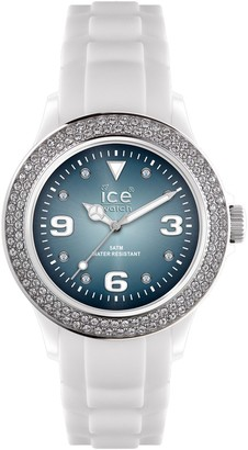 Ice Watch Ice-Watch Unisex Quartz Watch with Blue Dial Analogue Display and White Silicone Strap IB.ST.WSH.U.S.11