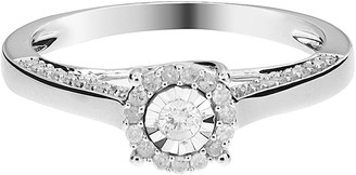 Love Diamond 9ct White Gold 25 Points White Diamond Ring with Shoulder Detail