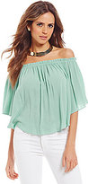 Gianni Bini Tyson Fan Fav Crinkle Gauze Off-the-Shoulder Blouse