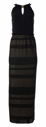 London Times Women's Sleeveless Halter Jacquard Maxi Dress