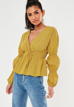 Missguided Olive Shirred Waist Plunge Blouse