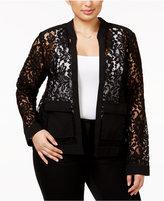 Alfani Plus Size Lace Bomber Jacket, Only at Macy's