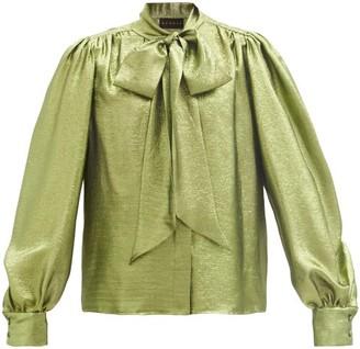Dundas Pussy-bow Balloon-sleeve Silk-blend Lame Blouse - Green