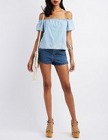 Charlotte Russe Pixie + Diamond Off-the-Shoulder Chambray Top