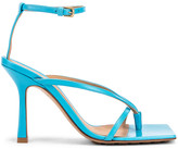 Bottega Veneta Leather Stretch Toe Heels in Sky Blue | FWRD