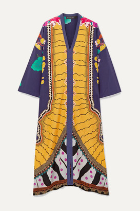 Etro Oversized Printed Silk Crepe De Chine Kaftan - Yellow