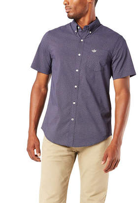 Dockers Mens Short Sleeve Plaid Button-Front Shirt