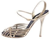 Roberto Cavalli Metallic Crystal-Embellished Sandals