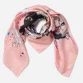 Kenzo Women's Multi Icons Iconics Swarm Silk Scarf Faded Pink