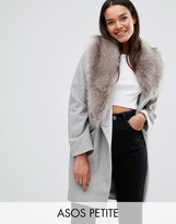 Asos Wool Blend Coat with Asymmetric Detachable Fur Collar