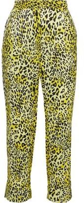 Baum und Pferdgarten Narethe Cropped Leopard-print Hammered Silk-satin Tapered Pants